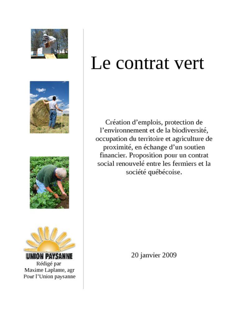 Le contrat vert union paysanne for Les espaces verts pdf